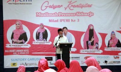 MEMBUKA - Plt Bupati Sidoarjo, Nur Ahmad Syaifuddin membuka acara Milad ke 3 dan Gebyar Kreatifitas Ikatan Pengusaha Muslimah Indonesia (IPEMI) di Hotel Luminor Sidoarjo, Rabu (15/1/2020)
