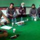 DIALOG - Sejumlah anggota dan pimpinan Komisi A DPRD Sidoarjo berdialog dengan Dinas PMD, FKKD, Forkopimka dan Cakades di Gedung Serbaguna Desa Suwaluh, Kecamatan Balongbendo, Sidoarjo Selasa (9/6/2020) lalu