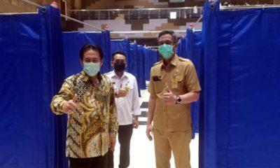 SIDAK - Plt Bupati Sidoarjo, Nur Ahmad Syaifuddin didampingi sejumlah pejabat menggelar sidak daya tampung Mal Pelayanan Publik (MPP) yang mampu menampung 129 pasien isolasi Covid-19, Rabu (10/6/2020)