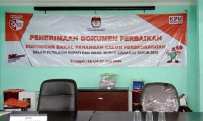 DITUNGGU - KPU Sidoarjo menunggu perbaikan berkas dukungan calon perseorangan (independen) Agung Sudiyono dan Sugeng Hariyadi untuk melengkapi kekurangan 125.986 Syarat Minimal Dukungan (Sarminduk) hingga pukul 24.00 WIB, Senin (27/7/2020)