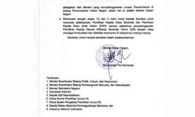 SURAT EDARAN - Surat Edaran (SE) Mendagri Nomor : 141/4528/SJ ditujukan kepada Bupati/Wali Kota se Indonesia yang isinya kepala daerah diminta fokus mensukseskan Pilkada 9 Desember mendatang karena masuk program strategis nasional tertanggal 10 Agustus 2020